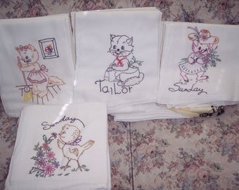 Hand painted flour sack dish towels
