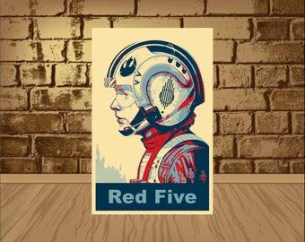 STAR WARS poster,Luke Skywalker poster,Red Five poster,star wars print,Luke Skywalker print,red five print,x wing,star wars Skywalker,