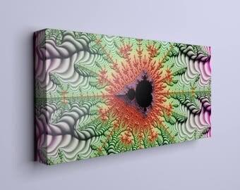 Mandelbrot art print, greenish art, modern wall art, modern wall hanging, abstract print, living room art, canvas print