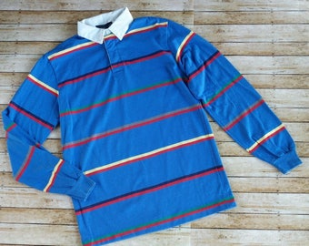 Vintage 80s Mens Chesterfield Long Sleeve Blue Yellow Red Striped Polo Shirt Size Small 1980s