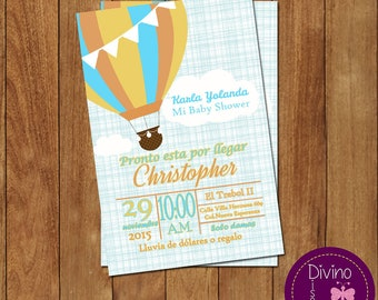 invitation baby shower/welcome hot air balloon
