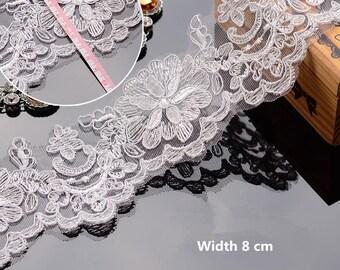 Ivory Wedding Lace Trim, White Alencon Lace Trim, White Corded Lace Trim, White Bridal Lace Trim, Sell By Yard