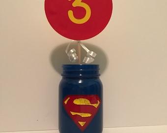 Mason Jar Centerpieces, Superman Theme Mason Jar Centerpieces, Batman Party, Marvel Party, Super Hero Party