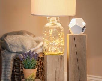 Oak Block Trio coffee table lamp stand stack