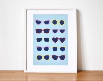 Blue Illustrated Sunglasses Art Print A3 Summer House Warming Gift Wall Art