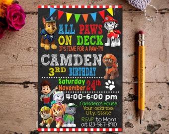 Paw Patrol Invitation,Paw Patrol Birthday,Paw Patrol Chalkboard,Paw Patrol Birthday Chalkboard,Chalkboard,Invitation,Birthday,Card Party