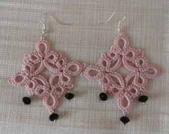 Tatting lace earrings-handmade