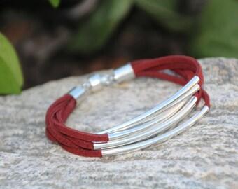 Burgundy Suede, Bangle Bracelet