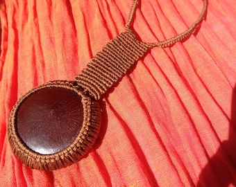 Natural Seed Macrame Pendulum Necklace