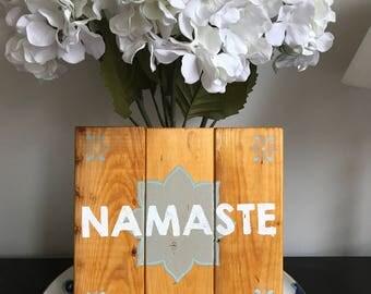 Namaste Hanging Wooden Sign