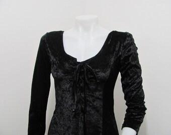 Vintage 90s Black Crushed Velvet Velour Slinky maxi Corset Dress Goth Grunge s/m