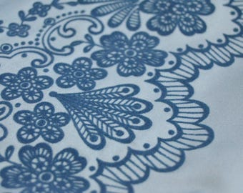 Light blue fabric, Blush blue, Flocked fabric by the yard sateen Polyester flowers floral flock fabric crazy quilting