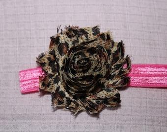 Hot Pink Cheetah Flower Headband