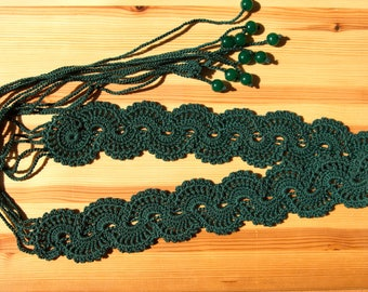 100% cotton emerald-green lace crochet belt with beads