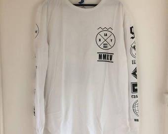 T-shirt long sleeves white logos