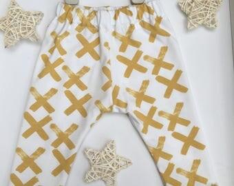 Baby leggings handmade cross cross mustard