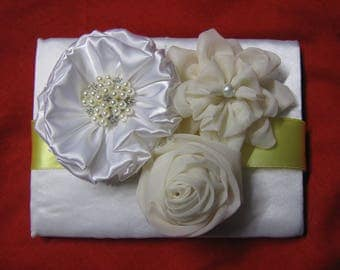 Wedding Guest Book,Fabric Flowers Guest Book