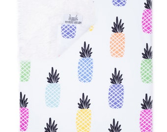 My Mini Kingdom Pining for Pineapples Baby Blanket - Minky / Cloud Fabric - Llama Backing - 2 Sizes Available - Faux Fur
