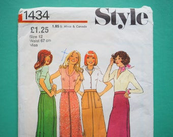 Style 1434 Fitted Flattering Skirt Pattern 1970s Vintage Retro Sewing Pattern Size 12 Waist 67cm