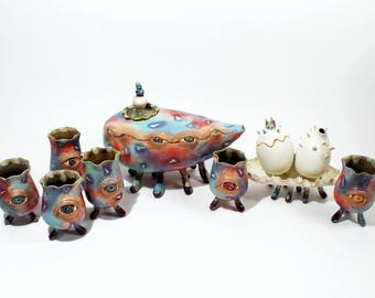 The Mothership Tea Set OOAK