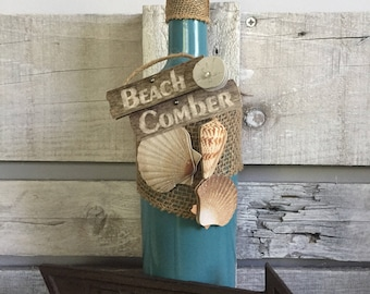 Beach Comber Wine Bottle - Beach Decor - Home Decor