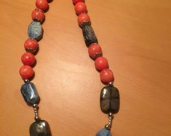 Orange with large irregular bead necklace
