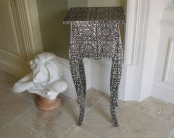 Blackened Silver Embossed 1 DrawerMetal,Curved,Retro Vintage Chic,Bedside Chest