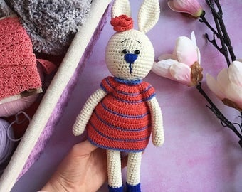Stuffed bunny/Amigurumi rabbit/Plush bunny/Crochet bunny rabbit/Stuffed toy/Amigurumi baby/Nursery decor/Bunny toy/Gift for baby/Girly gift