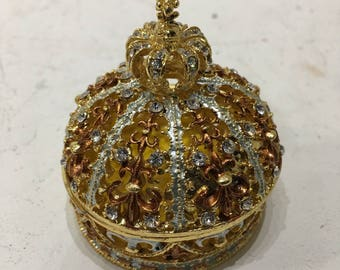 Crown Trinket box brass with rhinestone