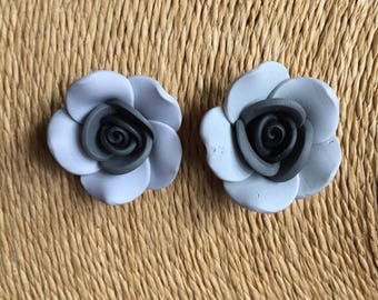 Earrings, grey and black rose, Earrings, studs or clip on. Polymer clay.