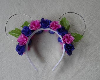 Pink, purple, and white wire mouse ears