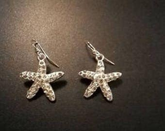 Handmade Crystal and Silver Toned Starfish Earrings