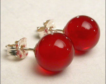 Carnelian 8mm Round Studs Earrings - Sterling Silver