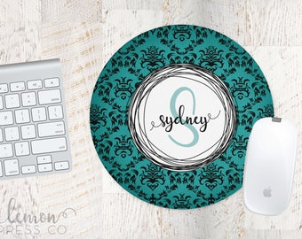 Teal Damask Mouse Pad, Computer Mouse Pad, Monogram Office Supplies, Monogram Mouse Pad, Personalized Mouse Pad, Custom Mouse Pad LPM25