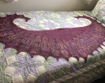 Beaded lace merino tencel shawl