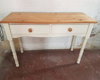 Shabby Chic Pine Console / Dressing Table In Rustoleum Clotted Cream (#953)