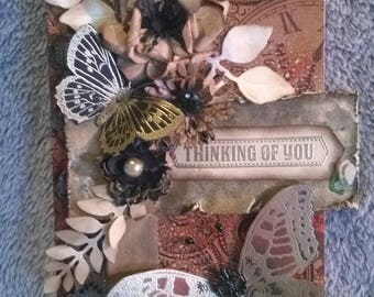 Brown mixed media tag, shabby chic