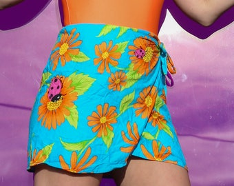 90s Bright Wrap Skirt