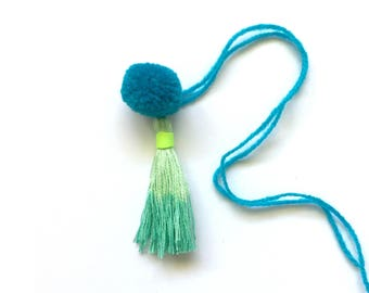 pom pom and dip dye tassel - blue green