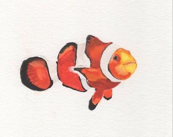 Nemo Clownfish Watercolor Painting Digital Download