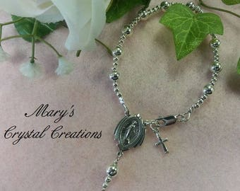 Sterling Silver Rosary Bracelet, First Communion, Confirmation Bracelet, Religious Bracelet, Sterling Charm, Travel Rosary!