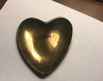 Vintage Brass Heart Dish Coin Tray Trinkets