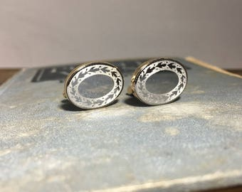 Vintage Two-tone Costume Cuff Links