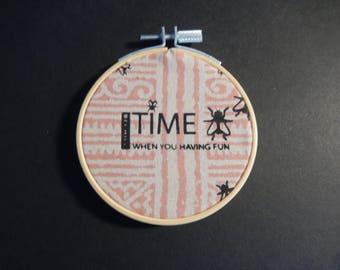 BECHILL/screenprint in hoop size: 9 X 9 (time flies when you're having fun)