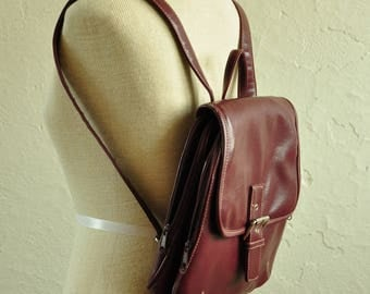 The Julia: 90s Maroon Faux Leather Mini Backpack Purse