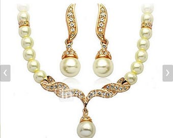 Choker Necklaces Necklace/Earrings Basic Imitation Pearl Bridal Imitation Pearl Jewelry Golden Necklaces Earrings ForWedding Party Daily