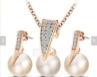 Jewelry Set Stud Earrings Pendant Necklaces Pearl Imitation Diamond Basic Fashion European ElegantPearl Imitation Pearl Rhinestone Rose