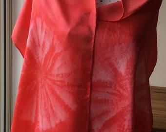 Silk Scarf Cochineal Naturally Hand Dyed Shibori Kumo Satin Silk