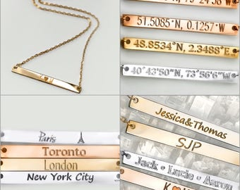 Personalized Bar my name necklace gold pendant Custom name necklace gold bar necklace Graduation gifts Name Necklace personalized jewelry