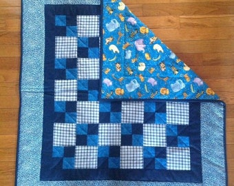 Blue Animal Baby Quilt